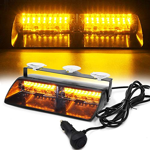 FOXCID LED Law Enforcement Emergency Hazard Warning Strobe Flashing Lights 16 LED High Intensity 18 Modes for Interior Roof Dash Windshield with Suction Cups (Amber) -