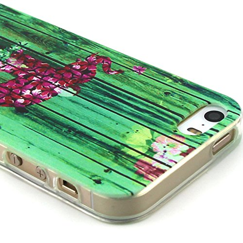 Fashion Coque pour Apple iphone 5/5s, Crystal Housse en Soft TPU Gel Silicone pour iphone 5s, iphone 5 Flexible Souple Cas Back Case Cover de Protection, Ultra Slim Créatif Dessin Couleur Motif de élé