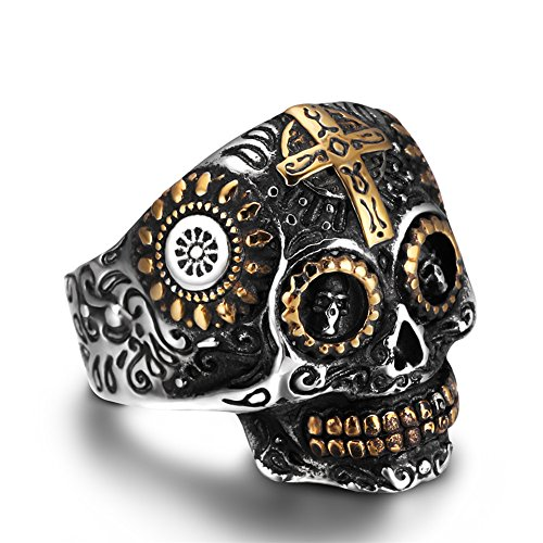 AUMRET Halloween Skull Stainless Steel Simulated Silver Gothic Cross Ring