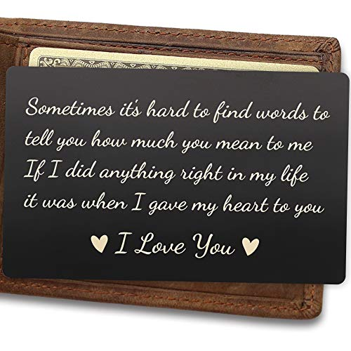 Mens Wallet Insert, Engraved Wallet Card for Husband, If I Did Anything Right in My Life, It Was When I Gave My Heart to You, Best Boyfriend Gifts for Husband, Wedding Anniversary Gifts for Men, Women