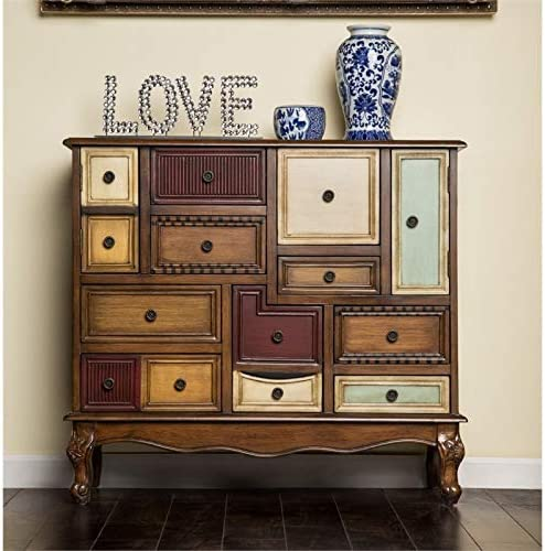 Furniture of America Whitney 9-Drawer Accent Chest in Antique Walnut
