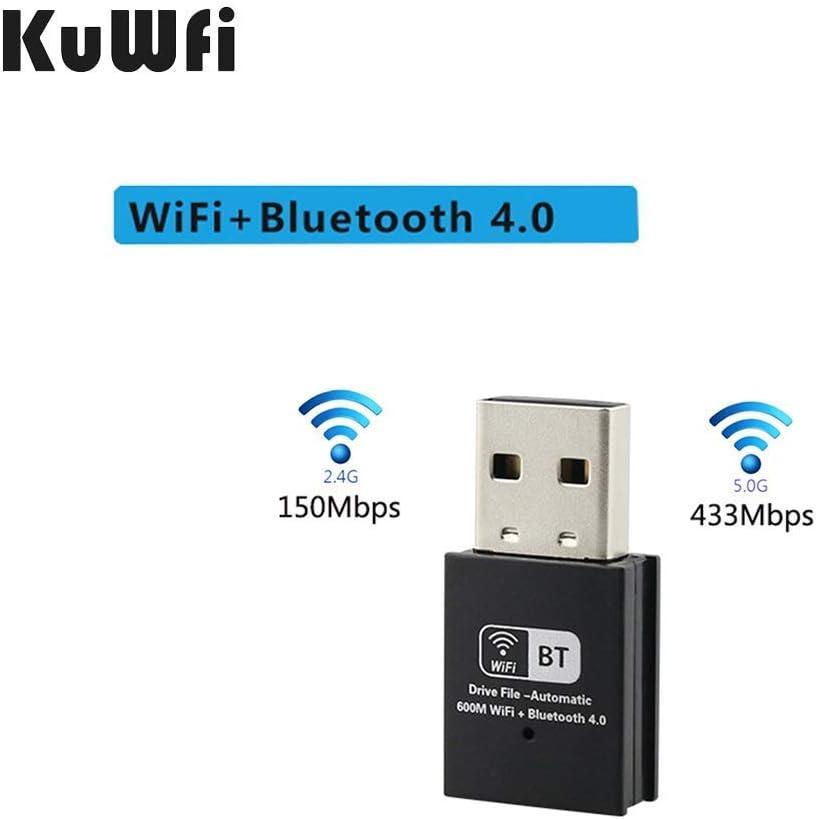 KuWFi 600M Mini Daul Band USB WiFi Bluetooth Adapter, USB WiFi Network Adapter 150Mbps & Bluetooth Dongle Receiver for Desktop/Laptop/PC Support Windows