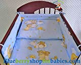 BlueberryShop 2 pcs BABY COT BED BUNDLE BEDDING SET DUVET+PILLOW COVERS matching cot bed 120 x 150 cm (47'' x 59'') ( 0-7Yrs ) ( 150 x 120 cm ) Blue Teddies on Ladder