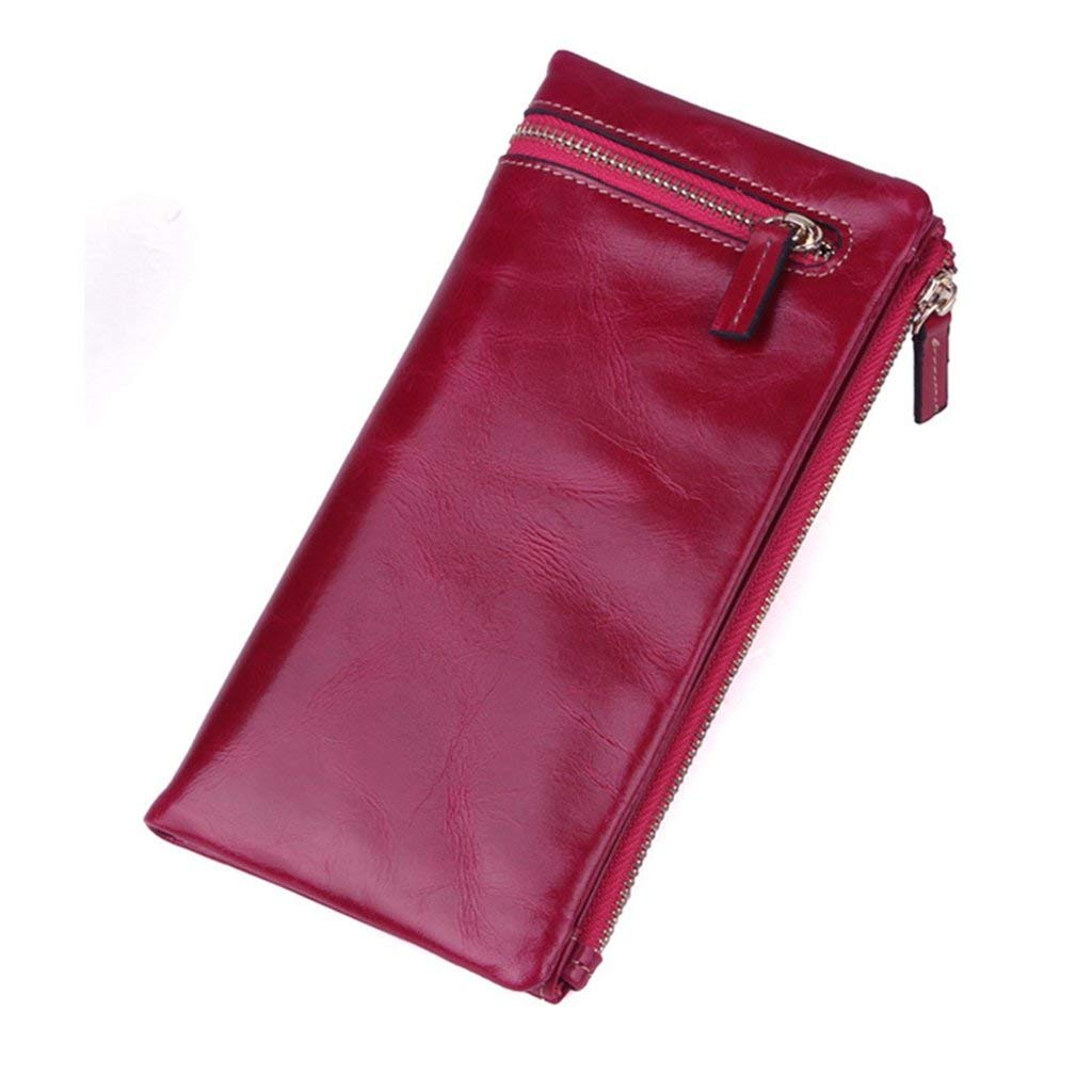 5 Soft Women's Leather Wallets RFID Blocking Vintage Design Large Capacity Handbag (color    1)