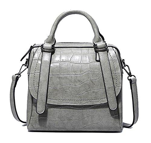 Hopeeye Woman Trends Tendance Sac à dos en peau de vache Sac à main Messenger Bag Cuir élégant (noir) 4-gris