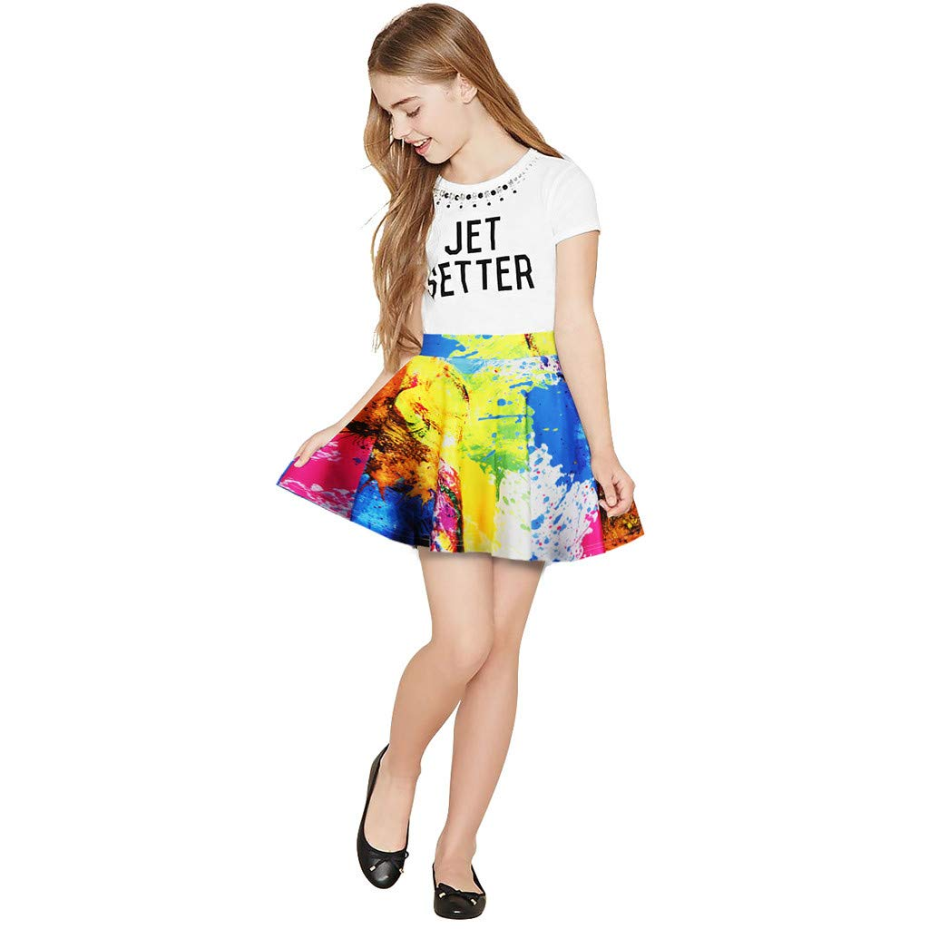 NUWFOR Toddler Kids Girl Galaxy 3D Digital Printing Princess Casual Pleated Tutu Skirt(Multicolor,7-8 Years) by NUWFOR (Image #4)