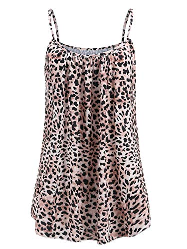 7th Element Womens Plus Size Cami Basic Camisole Tank Top (Leopard ()