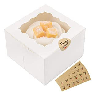 Moretoes 30 Packs 4x4x2.5 Inches White Bakery Boxes with Window Paper Gift Boxes for Pastries, Cupcakes, Small Cakes and Cookies