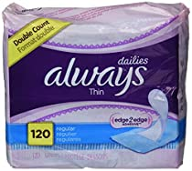 Always Dailies Regular Thin Unscented Pantiliners, 120 ct (Pack of 2)