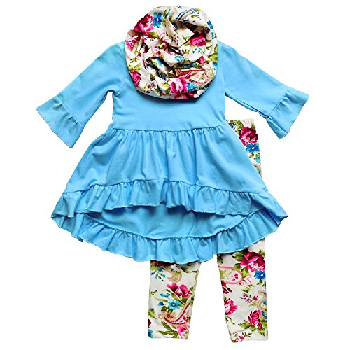 So Sydney Toddler Girls 3 Pc Hi Lo Ruffle Flare Tunic Top Outfit, Infinity Scarf (M (4T), Blue Cream Vintage (Girls Fall Dress)