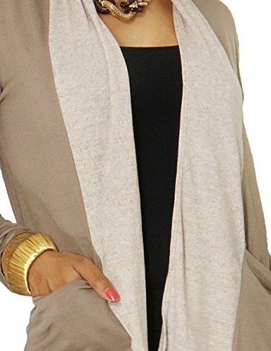 Womens Effortlesly Open Silhouette Fashion Cardigan (LARGE, TAUPE)