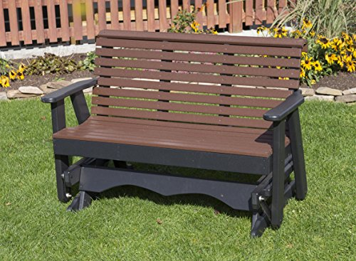 5FT-CEDAR-POLY LUMBER ROLL BACK Porch GLIDER Heavy Duty EVERLASTING PolyTuf HDPE – MADE IN USA – AMISH CRAFTED