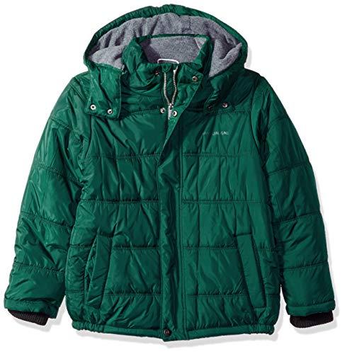 Calvin Klein Boys' Big Eclipse Short Bubble Jacket, Dark Green, Large (14/16) (Calvin Klein Jacket Boys)