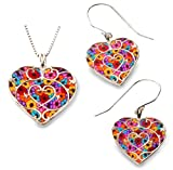 925 Sterling Silver Heart Necklace Pendant and Dangle Earrings Handmade Polymer Clay Jewelry Set, 16.5''