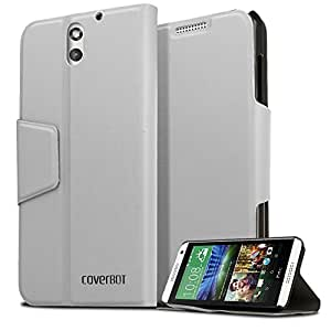 CoverBot HTC Desire 610 Flip Wallet Case with Stand WHITE. Slim Style with Folio Flip Cover