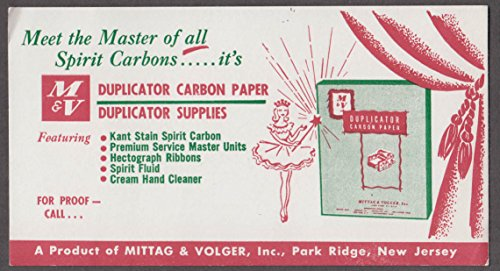 Mittag & Volger M&V Duplicator Carbon Paper Park Ridge NJ blotter 1950s from The Jumping Frog