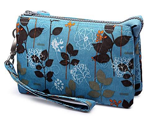 Crest Design Water Repellent Nylon Wristlet Clutch Wallet Cell Phone Pouch (Blue Forest)