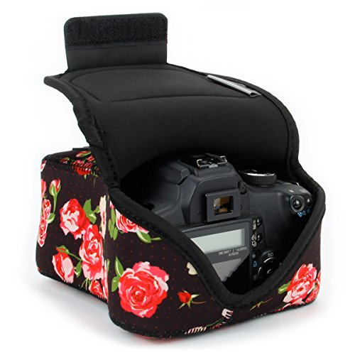 DSLR Camera Case / SLR Camera Sleeve (Floral) with Neoprene Protection , Holster Belt Loop and Accessory Storage by USA Gear – Works With Nikon D3400 / Canon EOS Rebel SL2 / Pentax K-70 & Many More