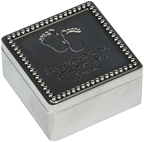 Precious Moments Every Good And Perfect Gift Is From Above Baby Footprints Zinc Alloy Keepsake Trinket Box, 172452