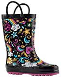 Oakiwear Kids Rubber Rain Boots With Easy-On Handles, Peace, Love & Rainbows, 10T US Toddler, Peace