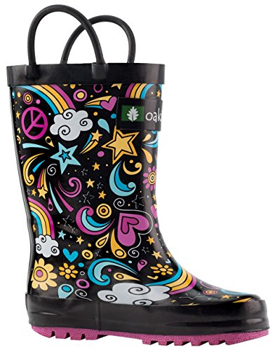 Oakiwear Kids Rubber Rain Boots with Easy-on Handles, Peace, Love & Rainbows, 6T US Toddler, Peace by Oakiwear (Image #10)