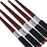 LUNA 5 Pairs Japanese Style Restaurant Wooden Chopsticks Sushi Tableware (A10)