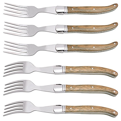 [Set of 6] Fork Sets, Hailingshan Laguiole Stainless Steel Gift Boxed Heavy Duty Premium Stylish Mirror Polishing Flatware Kitchen Dinner Table Steak Salad Desserts Fruit Forks 6 Pack-Rose Wood Handle (Laguiole Boxed Set)