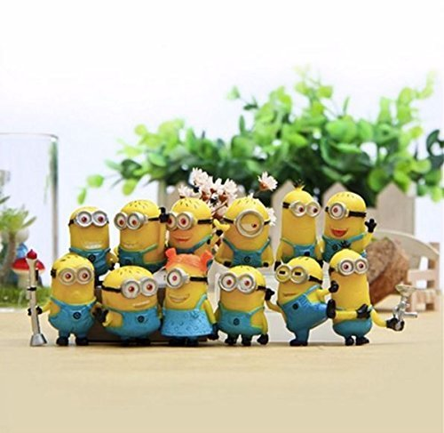 "AAAGreatest Gift: Mini-Figure 12pcs/Set 1.5""/4cm Animation Minions Despicable Me 3D-Eyes Jorge, Staurt, Dave, Kevin, Bob & Other Cosplay Minions Action Figures Toys PVC Plastic Collectible Model Kids"