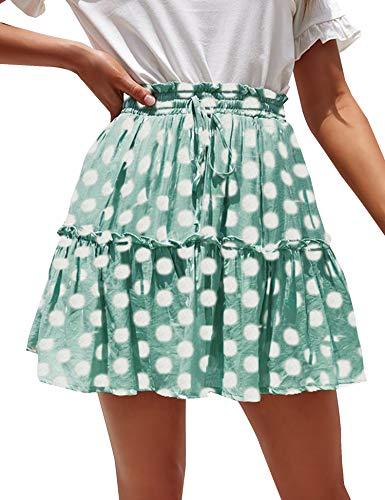 Relipop Women's Flared Short Skirt Polka Dot Pleated Mini Skater Skirt with Drawstring Light Green ()