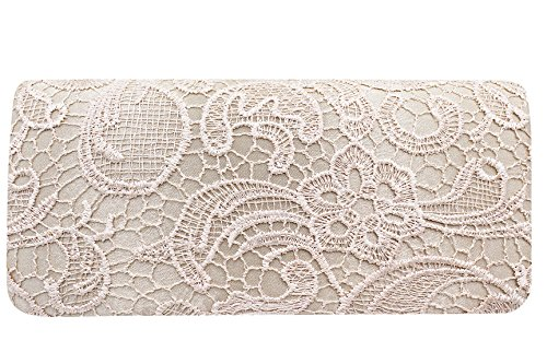 Beige Evening Lace Women Wedding Handbag Clutch Bag Party Chain Hossty Satin Bridal for Prom Shoulder qF6Uw
