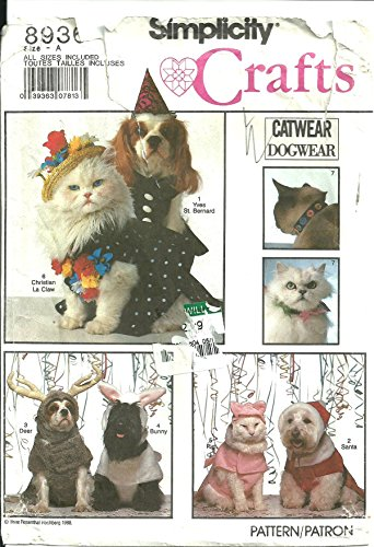 Simplicity Crafts Pattern 8936 Dog and Cat Costumes and Cat Collars]()