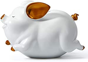 HAUCOZE Piggy Bank Coin Money Banks Flying Pig Gifts Decor Statue for Baby Boys Girls Kids Resin White 21cmL