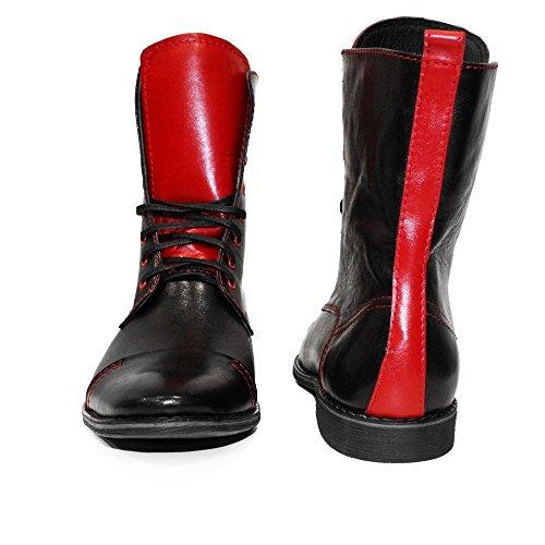 PeppeShoes Modello Robuco - Handmade Italiano da Uomo in Pelle Rosso Stivali Alti - Vacchetta Pelle Morbido - Allacciare