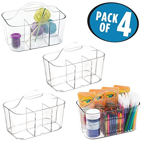 mDesign Art Supplies, Crafts, Crayons and Sewing Organizer Tote - Pack of 4, Clear