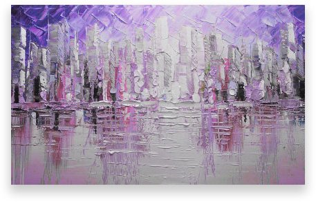 Oil Painting Abstract Modern Contemporary Wall Decor Cityscape Handmade Art on Canvas Purple City