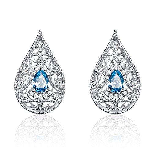 Carleen 0.79 Carats Swiss Blue Topaz Women Earrings Jewelry Sterling Silver Studs Earrings for Women -