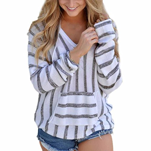 - FUNIC Womens Hoodie, Striped Long Sleeve Jumper Sweater Ladies Loose Casual Knitwear Tops (XL, Gray)