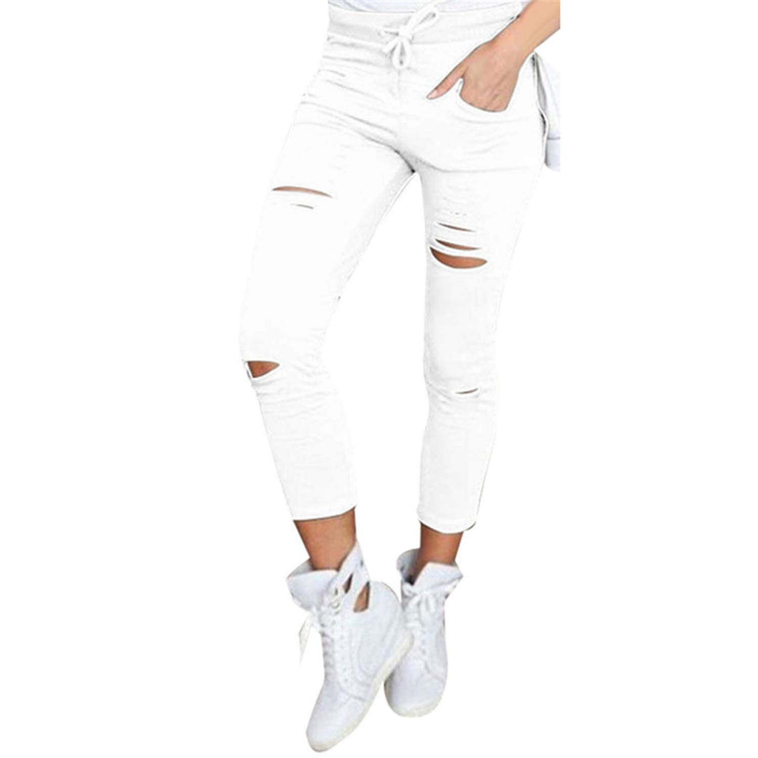 Casual Women Skinny Ripped Pants High Waist Stretch Slim Holes Pencil Pants Leggings Trousers for Female Large Size