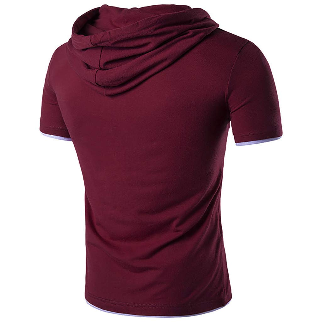 HTDBKDBK T Shirt for Men Fashion Slim Men Casual Short Sleeve Hooded Button Solid T Shirt Top Blouse
