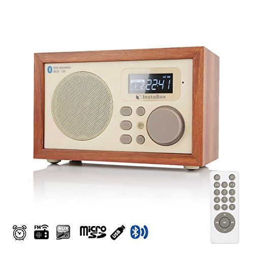 InstaBox i50 Wooden Digital Multi-Functional Speaker with Bluetooth FM Radio Alarm Clock MP3 Player Supports Micro SD/TF Card and USB with Remote Control