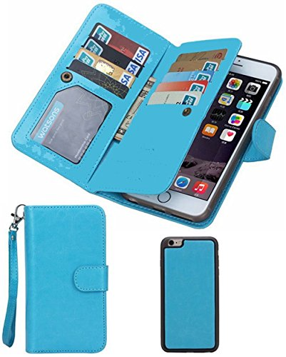 Prime Clearance Sale Day 2016 For iPhone 6plus Wallet Case,Valentoria® Leather Magnetic Detachable Slim Back Cover Card Holder Slot Wrist Strap Case for iPhone 6plus 5.5inch(iPhone 6plus, Turquoise)