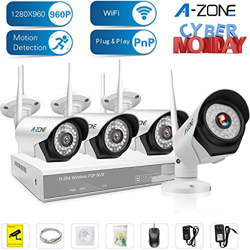 A-ZONE 4 Channel 960P NVR Wireless Security Cameras System Indoor Outdoor Weatherproof 4x HD 960P WiFi Cameras with Night Vision, Easy Remote View ,Without HDD by A-ZONE