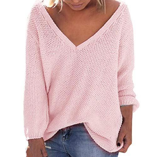 Sunhusing Women's Fall Winter Loose Long Sleeves Deep-V Neck Knitwear Sweater Pullover Blouse Pink -