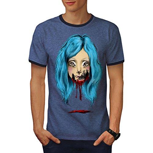 (wellcoda Girl Scary Creepy Mens Ringer T-Shirt, Gothic Graphic Print Tee Heather Blue/Navy S)