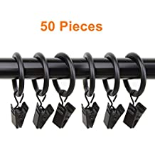 """Labellevie 50-pack Metal Curtain Rings with Clips (1.38"""", Black)"""