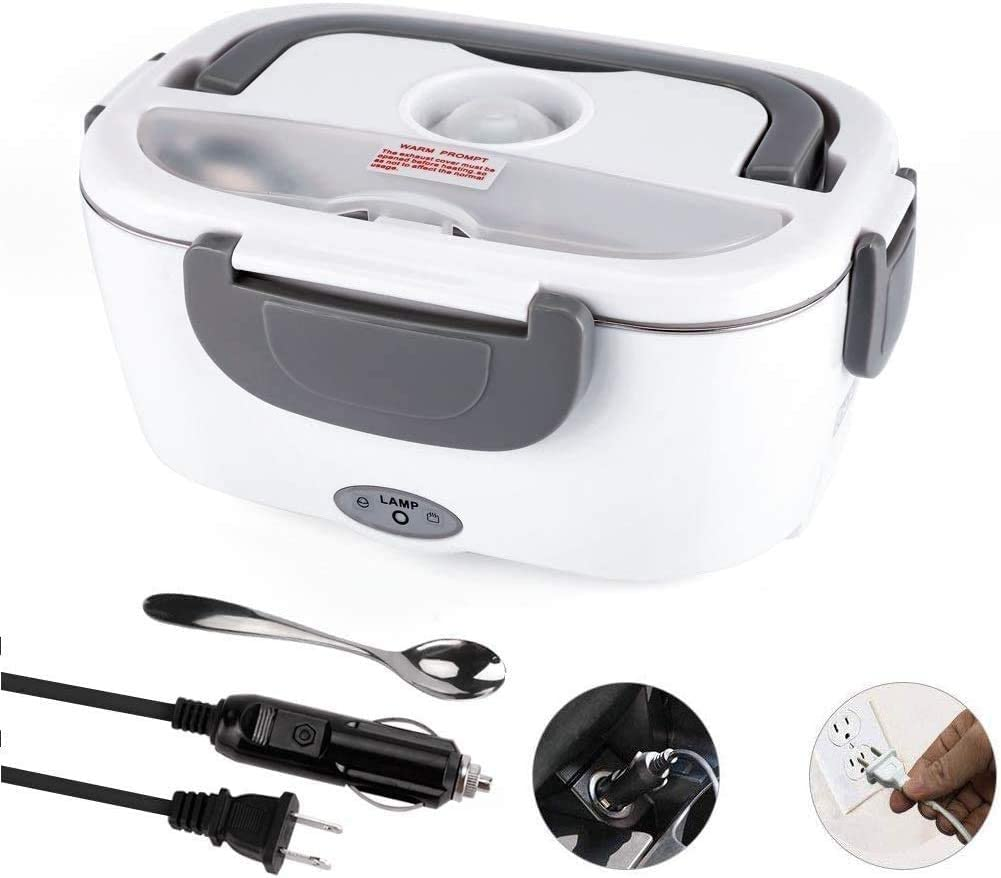 Electric Lunch Box-3 In 1 For Car/Truck, Portable Food Heater For Car/Office/Picnic, 24V And 12V&110V 40W, Stainless Steel Portable Container, Removable Food Heater Heater (gray)