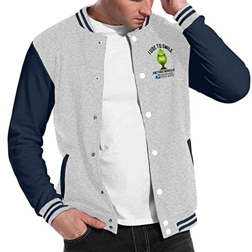 (Unisex Women Mans Grinch I Used to Smile and Then Worked at United States Postal Service Baseball Uniform Jacket Sport Coat Gray)
