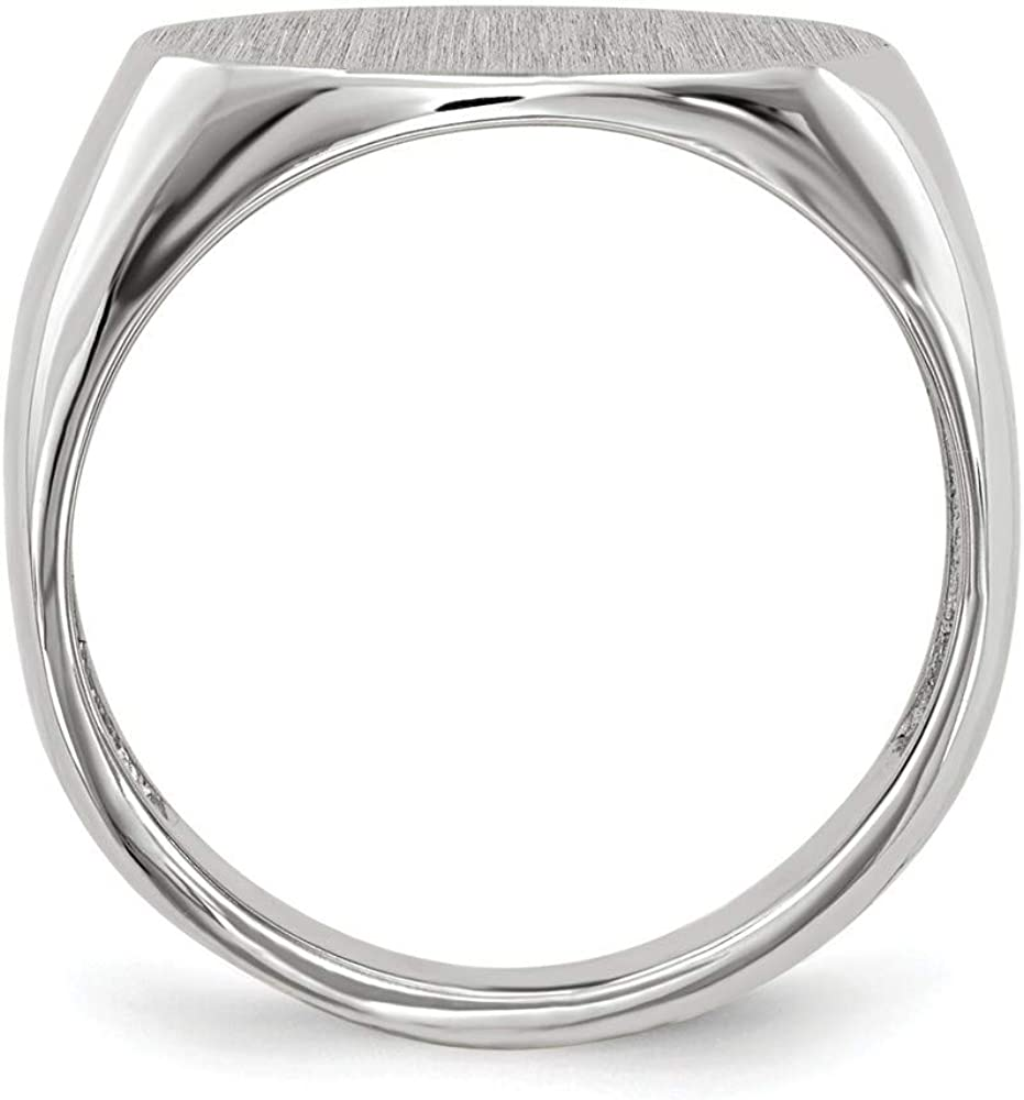 Roy Rose Jewelry 14K White Gold Open Back Signet Ring Horizontal Oval Custom Personailzed with Free Engraving Available Initial