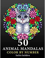 50 Animal Mandalas: Color by Number Coloring Book for Adults features Floral Mandalas, Geometric Patterns, Swirls, Wreath, Wild Creatures for Stress Relief and Relaxation