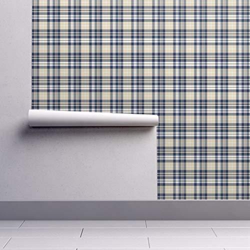 (Rustic Woods Wallpaper Roll - Woodland Plaid Navy Tan Beige Littlearrow by Littlearrowdesign - 1 Roll 24in x 27ft)